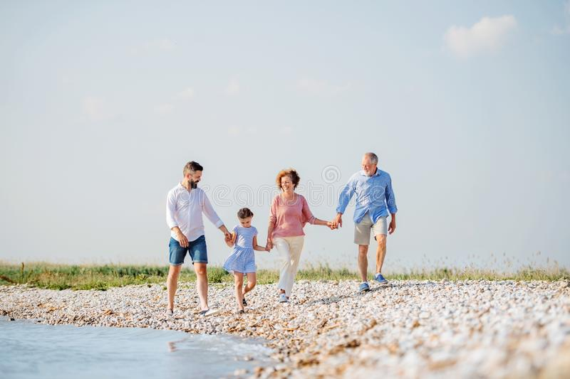 Multigeneration family on a holiday walking by the lake, holding hands. A multigeneration family on a holiday walking by the lake, holding hands royalty free stock photography