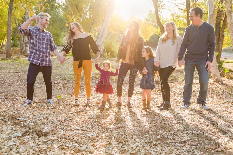 Active Multigenerational Mixed Race Family Portrait Outdoors royalty free stock images