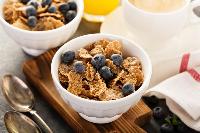 Multigrain healthy cereals with fresh blueberry stock image