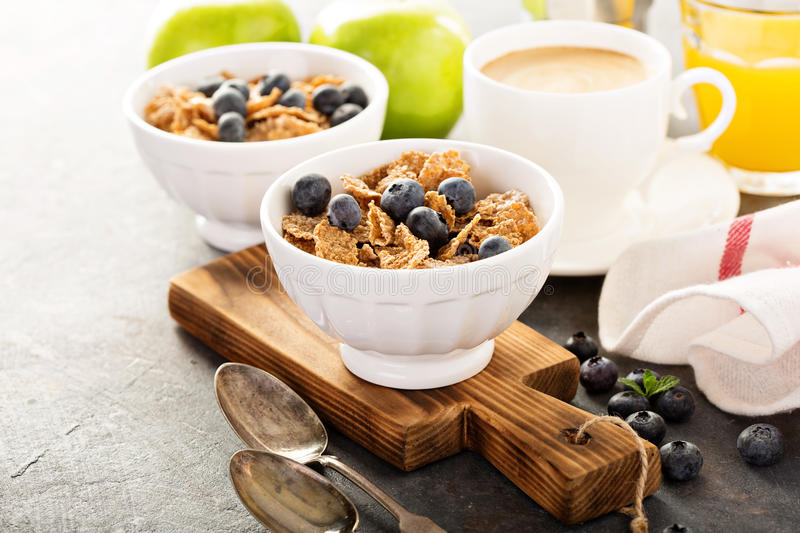 Multigrain healthy cereals with fresh blueberry royalty free stock photography