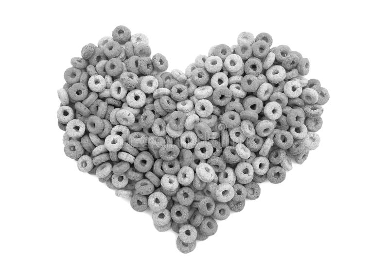 Multigrain hoops breakfast cereal heart royalty free stock image