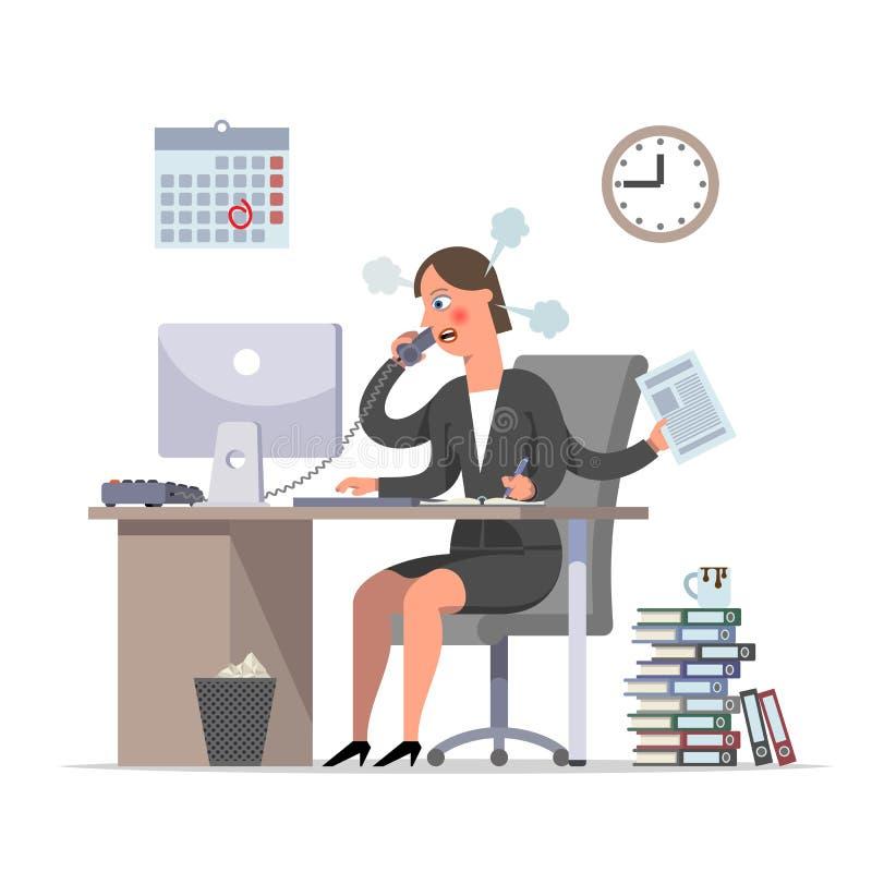 Multihanded bizneswoman lub urzędnik robimy naglącej pracie ilustracja wektor