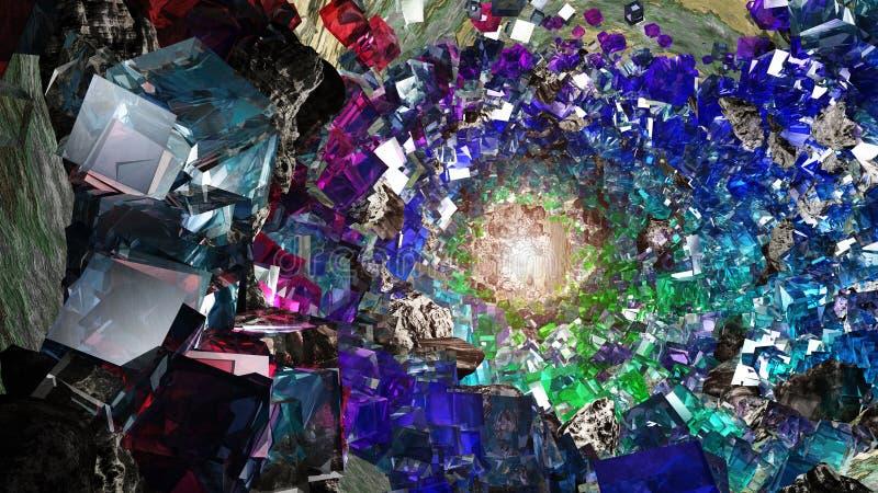 Multihued Crystal cavern. Multi hued rock Crystal cavern royalty free illustration