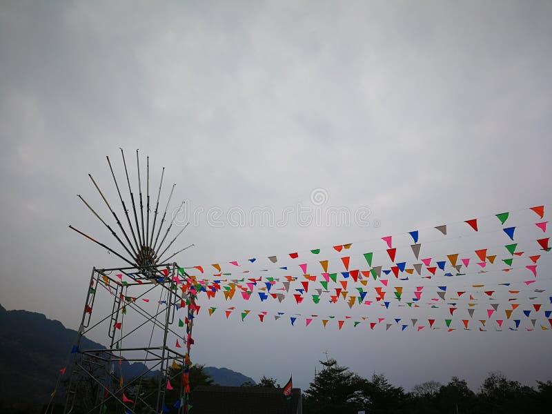 Multikleur van vlag in festival stock afbeeldingen
