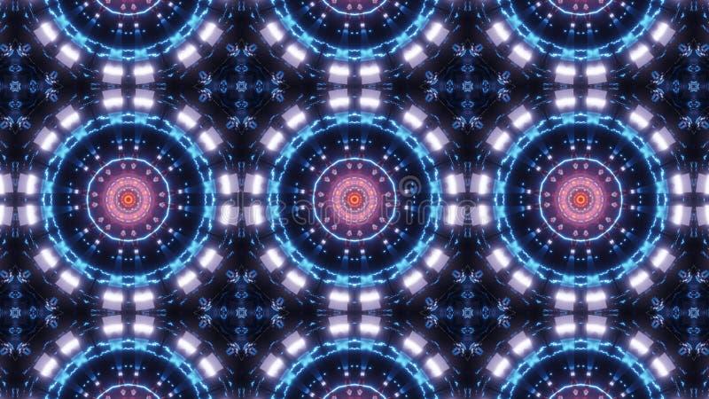 Multikleuren elektrische kaleidoscopemandala abstract ornament met blauwe en roze kleuren royalty-vrije illustratie