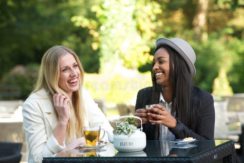 Multikulturelle Freunde, die Tee lachen und trinken stockbild