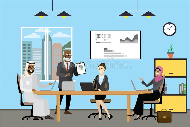 Multikulturelle Geschäftsleute der Karikatur, die im modernen Büro arbeiten vektor abbildung