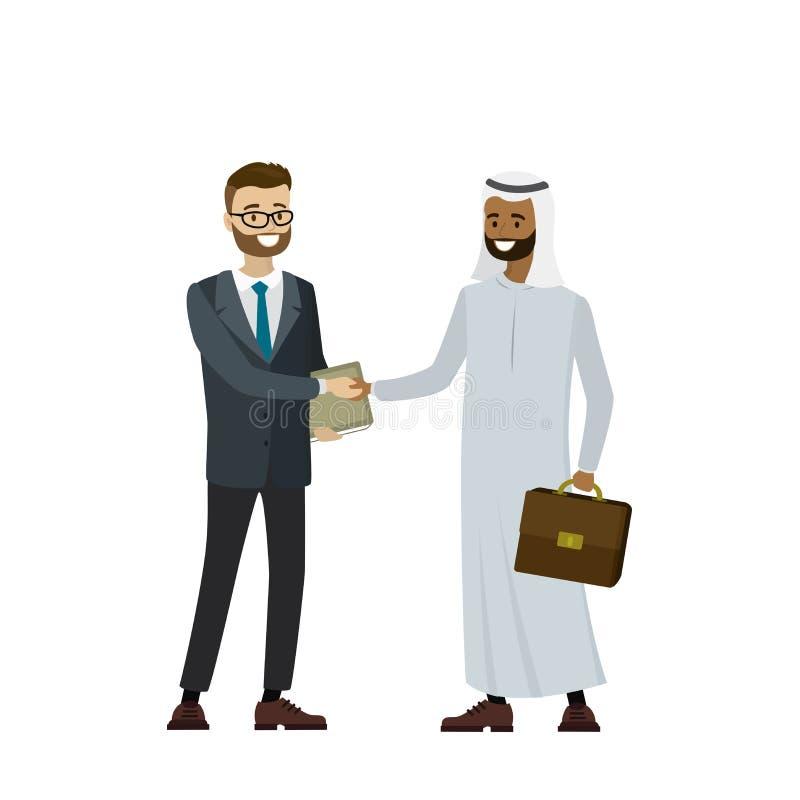 Multikulturelle Geschäftsleute, welche die Hände, lokalisiert auf weißem b rütteln stock abbildung