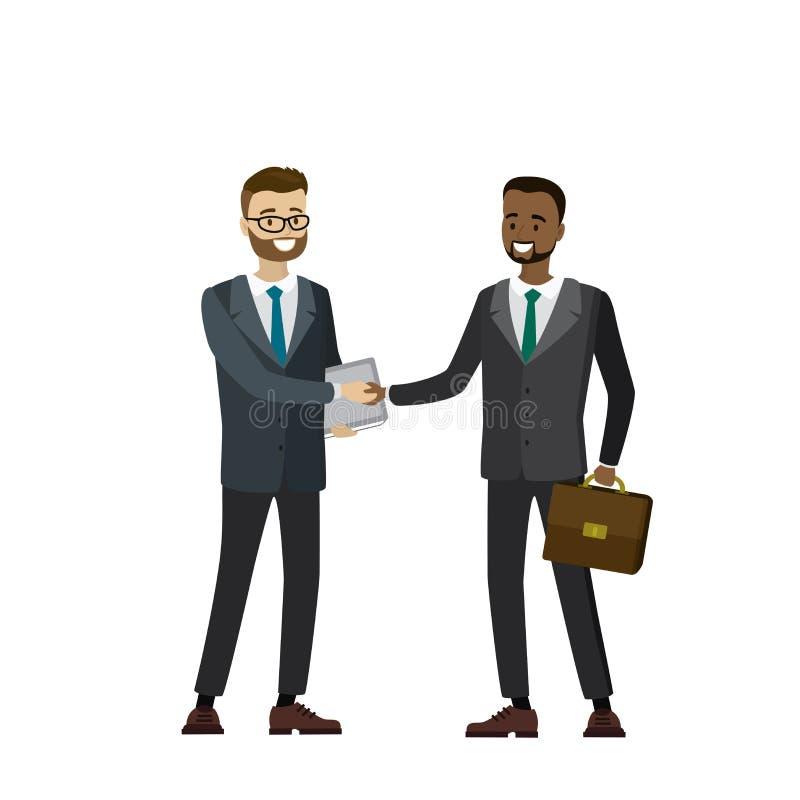 Multikulturelle Geschäftsleute, welche die Hände, lokalisiert auf weißem b rütteln vektor abbildung