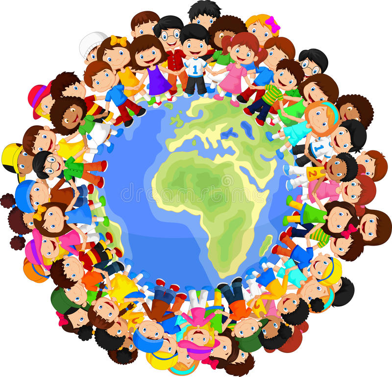 Multikulturelle Kinderkarikatur auf Planetenerde lizenzfreie abbildung