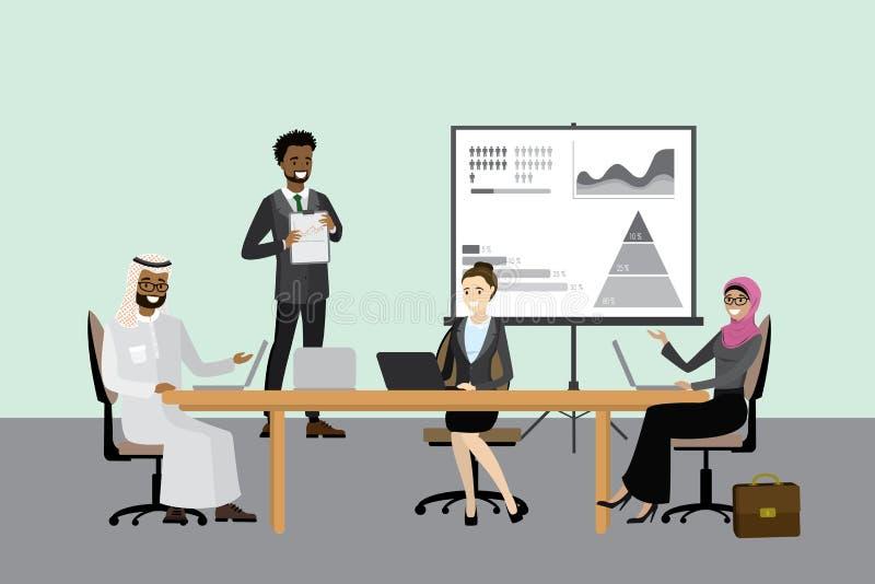 Multikulturelles Geschäftsteam - Darstellung oder Sitzung lizenzfreie abbildung