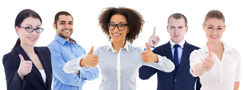 Multikulturelles Team von den glücklichen jungen Geschäftsleuten lokalisiert auf wh lizenzfreies stockbild
