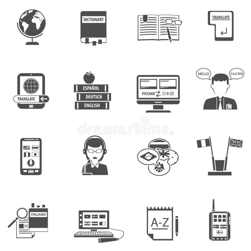 Multilanguage översättare Flat Icon Set stock illustrationer