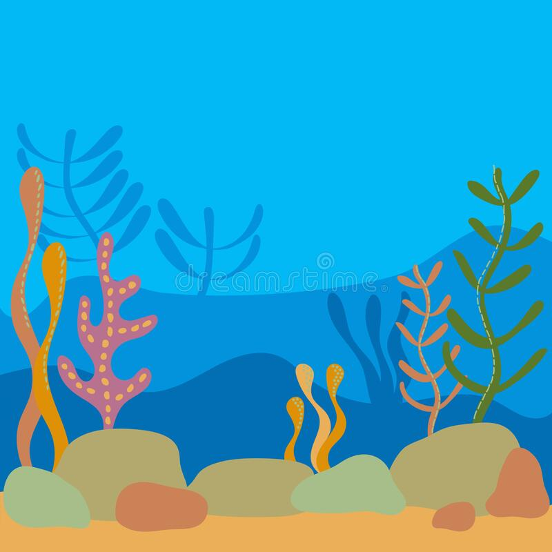 Multilayer Underwater world, landscape with seaweed. the silhouette of the plants in a flat cartoon style royalty free illustration