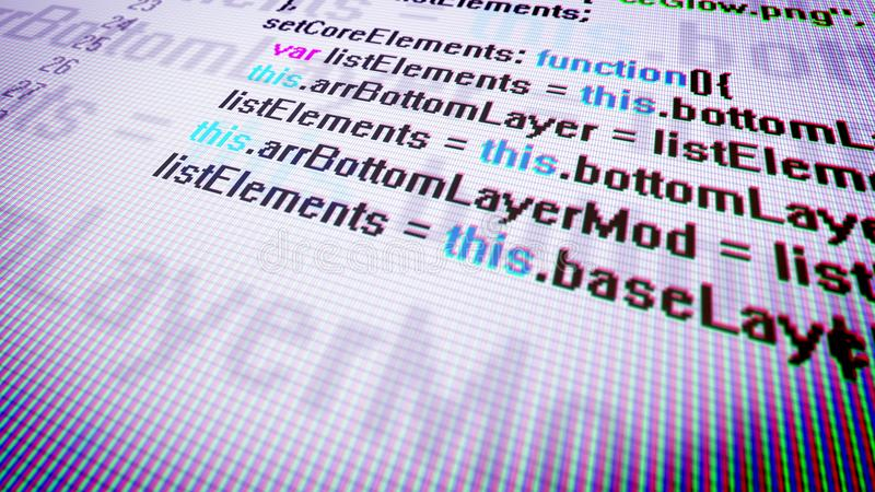 Multilayered Coding in Extreme Close-up. Holographic 3d illustration of a pc screen covered with a grid put askew with a close-up shot of advanced coding. It has royalty free illustration