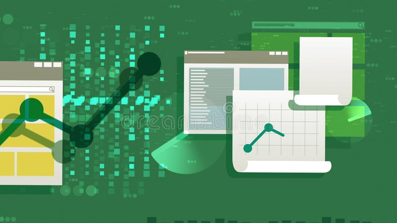 Multilayered mappar och Docs-illustration vektor illustrationer