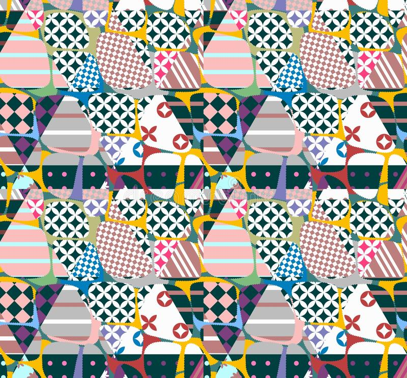 Multilayered seamless patchwork background. Beautiful abstract pattern. Print for fabric, wrapping design. Vector illustration.  vector illustration