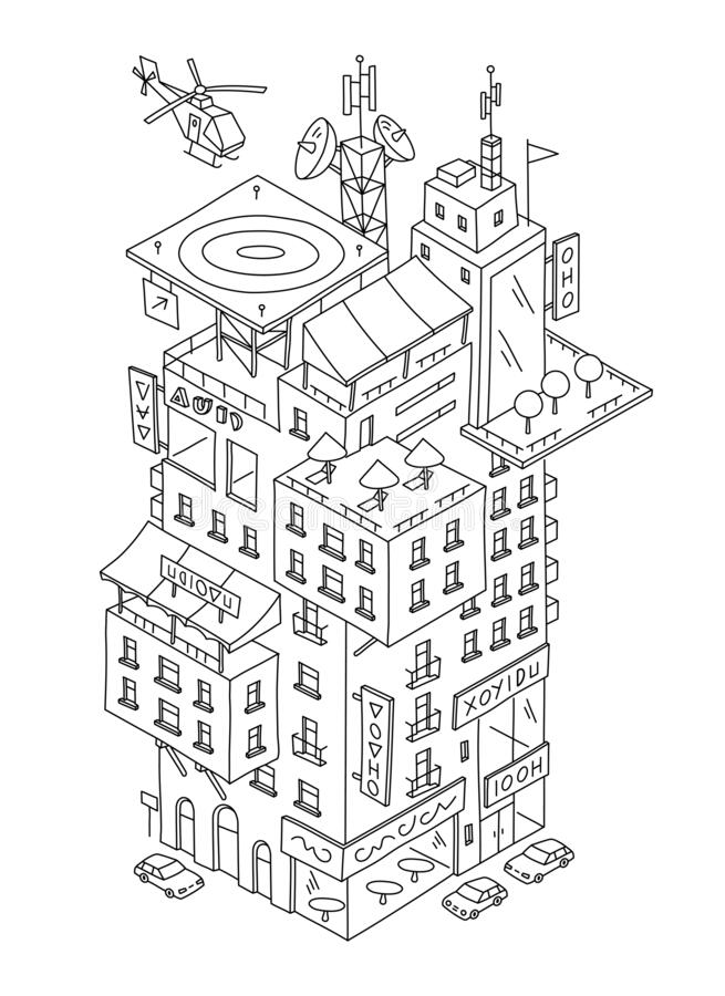 Multilevel cartoon building fantasy print sketch. Multi-storey house exterior. Hand drawn line. Freehand drawing. Black royalty free stock photography
