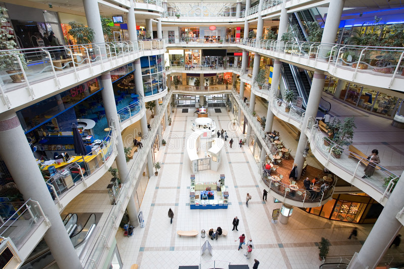 Multilevel shopping mall stock photography