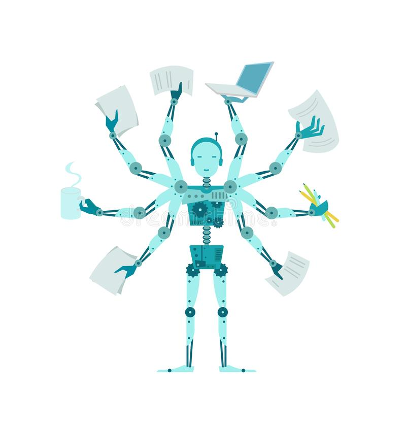 Multilimbed robot Biurowy wielofunkcyjny cyborga kierownik ilustracji