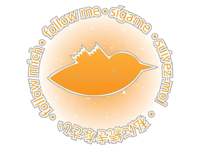 Download Multilingual Follow Me Texture Orange Twitter Bird Stock Vector - Image: 11724194