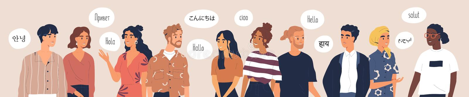 Multilingual greeting flat vector illustration. Hello in different languages. Diverse cultures, international royalty free illustration