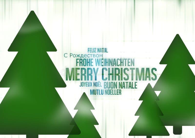 Multilingual Merry Christmas stock illustration