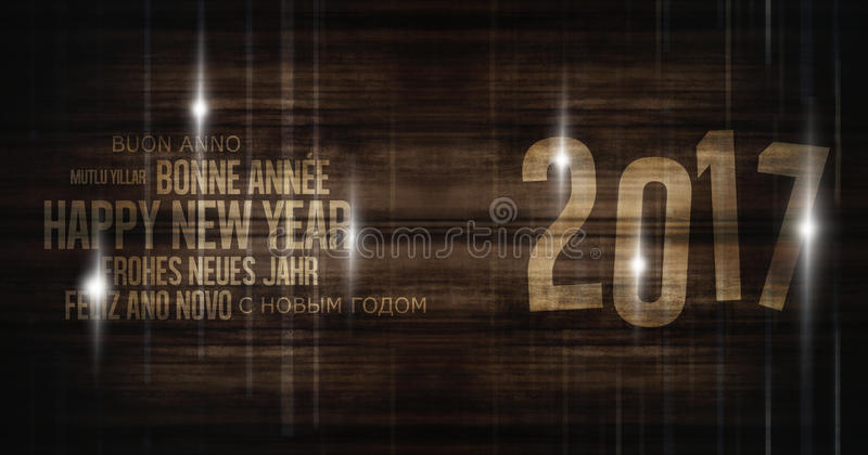 2017 multilingual merry christmas wooden wood background new year design stock illustration