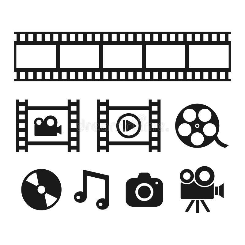 Multimédia, cinématographie et icônes noires de vecteur de divertissement illustration libre de droits