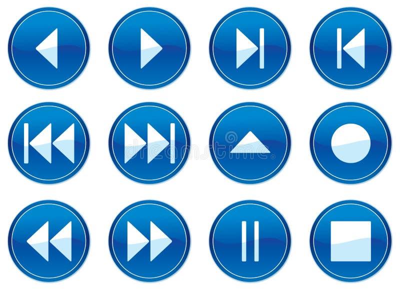 multimédia de boutons réglés illustration stock