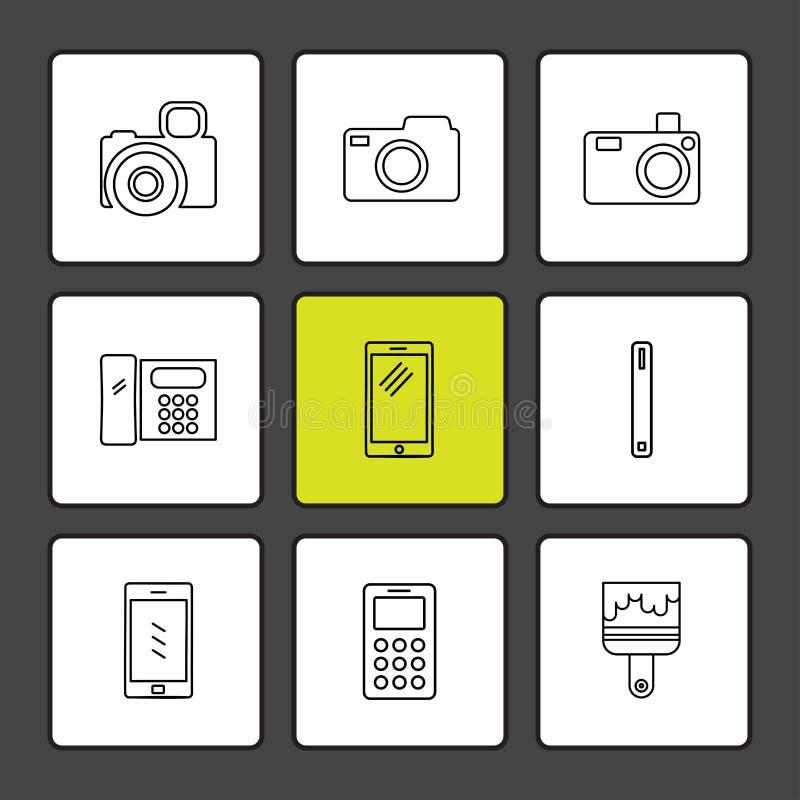 multimédia, interface utilisateurs, appareil-photo, technologie, Se d'icônes d'ENV illustration de vecteur