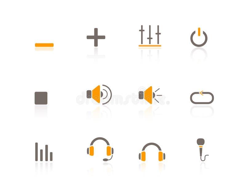Multimédios & áudio dos ícones do Web ilustração do vetor