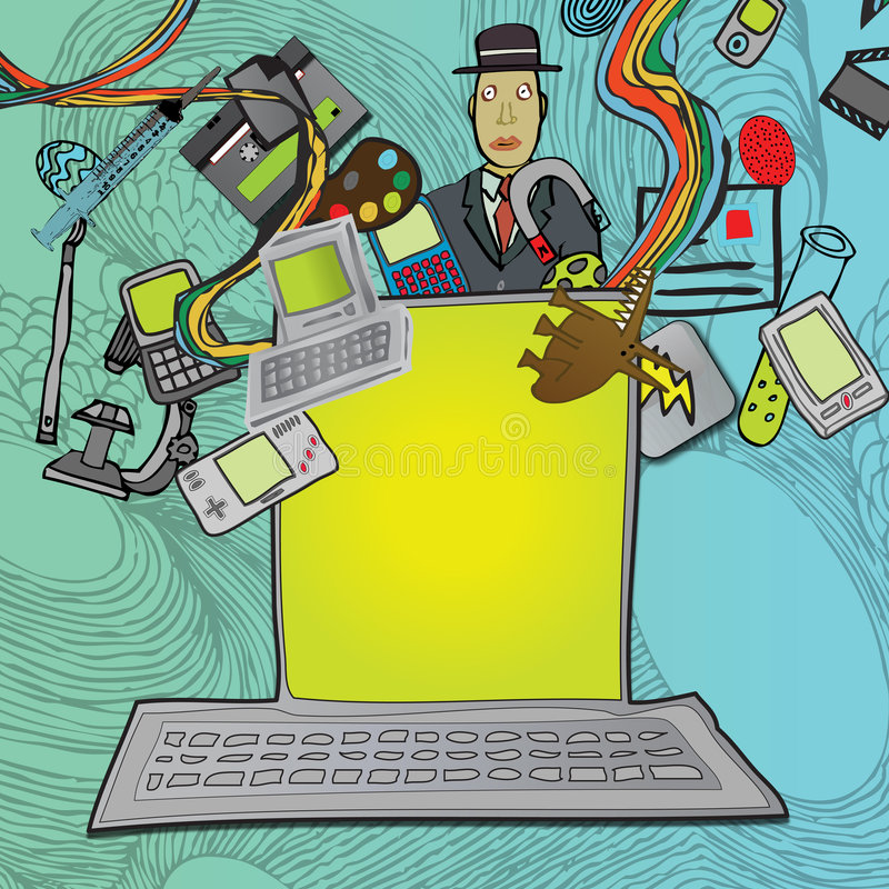 Multimédios do computador ilustração royalty free