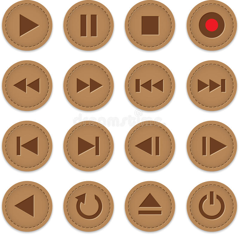 Download Multimedia buttons stock vector. Image of play, brown - 28792548