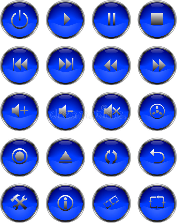 Multimedia Buttons stock photography