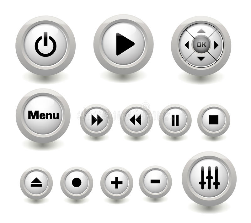 Multimedia buttons collection vector illustration