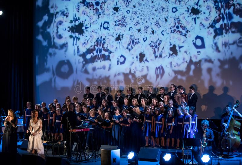 The Multimedia Christmas Oratory - to Bethlehem performed by the Filharmonia Futura and Choir Fermata. Cracow. Poland. Cracow, Poland - December 7, 2018: the royalty free stock image