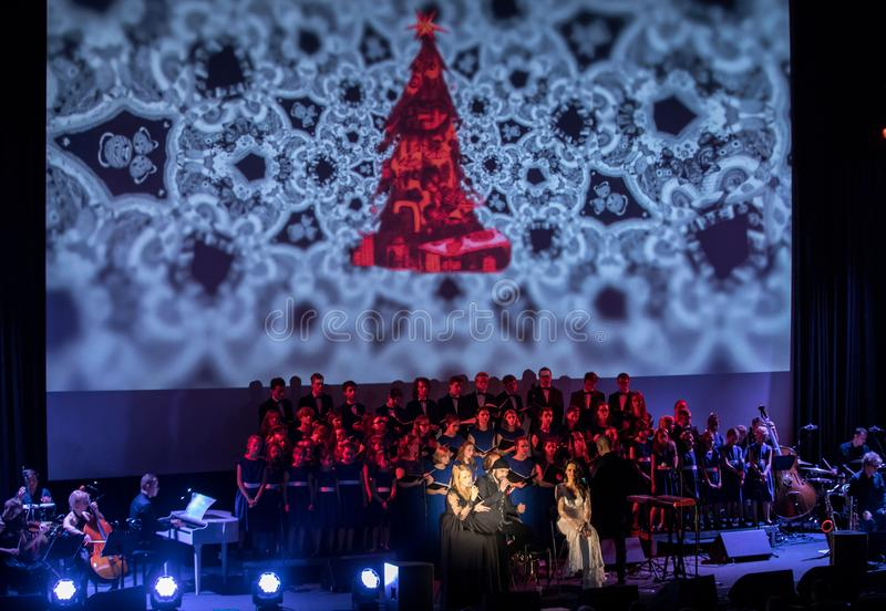 The Multimedia Christmas Oratory - to Bethlehem performed by the Filharmonia Futura and Choir Fermata. Cracow. Poland. Cracow, Poland - December 7, 2018: the royalty free stock photos