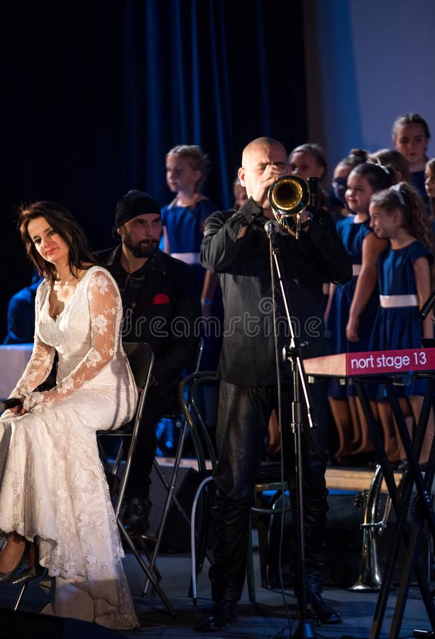 The Multimedia Christmas Oratory - to Bethlehem performed by the Filharmonia Futura and Choir Fermata. Cracow. Poland. Cracow, Poland - December 7, 2018: the stock photos