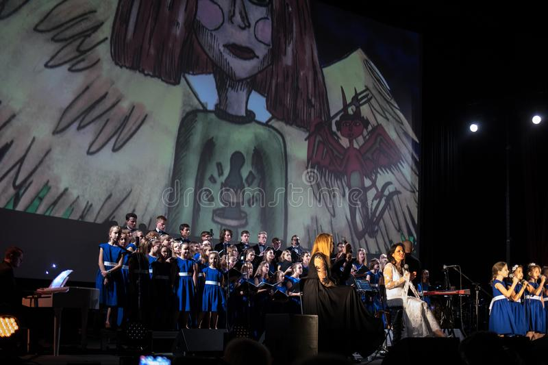 The Multimedia Christmas Oratory - to Bethlehem performed by the Filharmonia Futura and Choir Fermata. Cracow. Poland. Cracow, Poland - December 7, 2018: the royalty free stock images