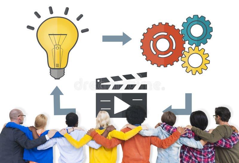 Multimedia Concep di pensieri di ispirazione di creatività di idee di pianificazione immagini stock libere da diritti