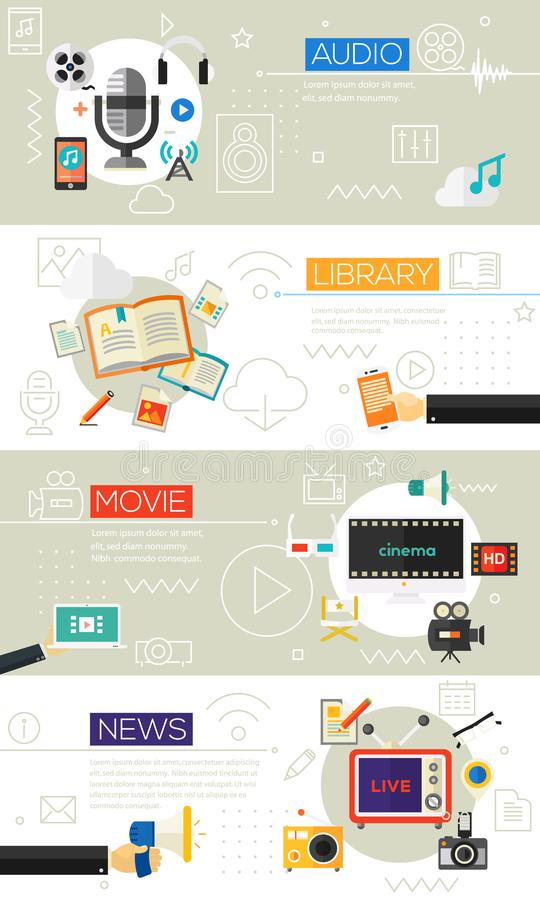 Multimedia Concept Collection. Multimedia three concept banners with UI elements. Three vector illustrations and collection of banners, icons and buttons for royalty free illustration