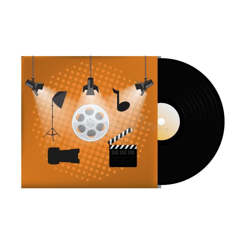 Multimedia concept poster design on vinyl cover. Vector illustration stock illustration
