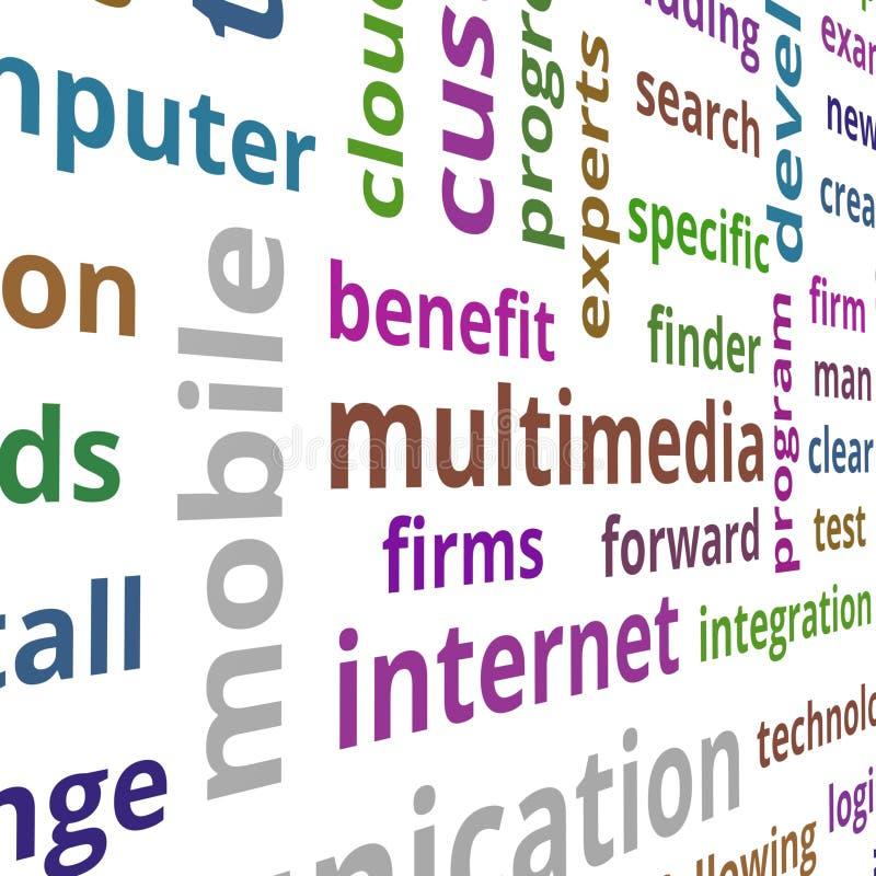 Multimedia concept. Text data illustration stock illustration