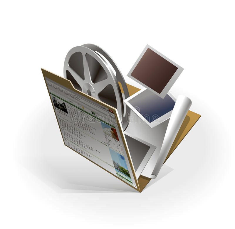 Multimedia content of a site stock photography