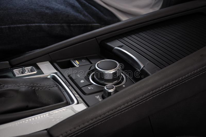 Multimedia control buttons of a modern car royalty free stock images