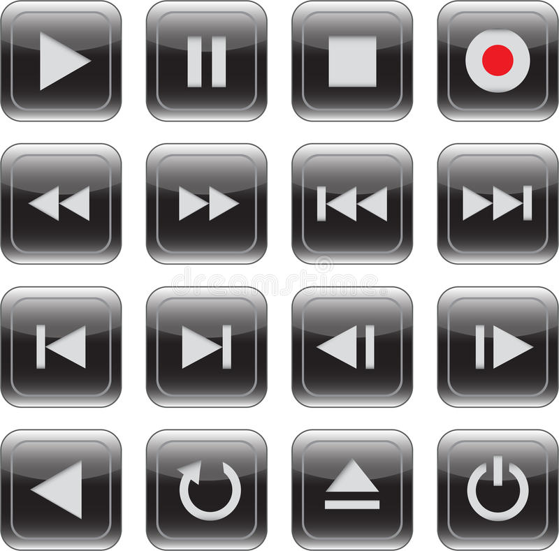 Multimedia Control Glossy Icon Set Royalty Free Stock Photography
