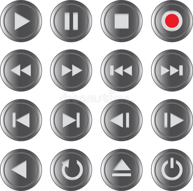 Multimedia Control Icon/button Set Stock Photo