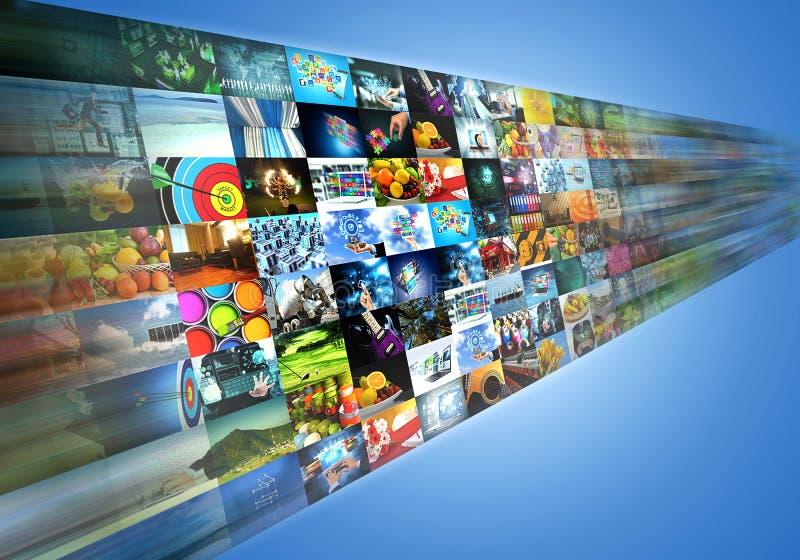 Multimedia di Internet che dividono e che scorrono spettacolo illustrazione vettoriale