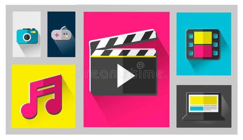 Multimedia di Internet di media che dividono concetto del sociale della rete royalty illustrazione gratis